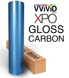XPO Blue Metallic Carbon Gloss VViViD stretch vinyl car wrap fiber Tech Art roll
