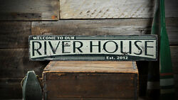 Custom River House Est Date Sign - Rustic Hand Made Distressed Wood ENS1000828