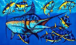 JEAN-BAPTISTE ORIGINAL SILK PAINTING OF A MAJESTIC BLUE MARLIN.