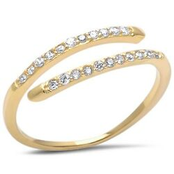 Yellow Gold Plated Cz .925 Sterling Silver Fashion Ring Sizes 4-10