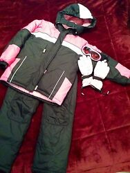 5 pc Winter Outfit Girls Women Ski Suit Snow Jacket Pants Gloves Goggles Large14