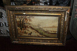 Antique Victorian Oil Painting On Board Signed 1924 Snow Deer Water House Berlin $229.99
