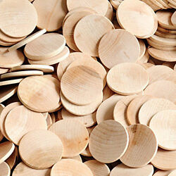 Wood Craft Circles Unfinsihed Wooden Circle 1.5 Inch Cutout Disk 100 Jewelry Lot