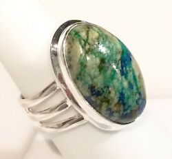 Sophisticated Azurite Solid Sterling Silver Ring 7.8g Size 6.75