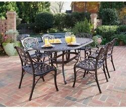 Garden Patio Furniture 7 Piece Oval Dining Set Outdoors Yard Lunch Metal Black