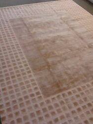 Modern Solid rug 10' x 14' wool woven Carpet camel color texture silky new