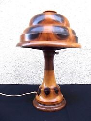 EXTRA RARE ART DECO WOOD ARTS & CRAFTS ANTIQUE TABLE DESK LAMP limited 2337