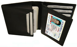 Black Men#x27;s Leather Bifold Credit Wallet 20 Card ID Center Flap Thin Holder $12.61