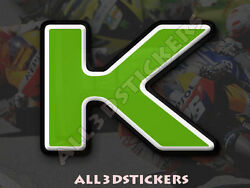 3D Stickers Resin Domed LETTER K - Color Green - 25 mm(1 inch) Adhesive Decal $3.99