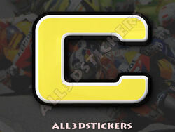 3D Stickers Resin Domed LETTER C - Color Yellow - 50 mm(2 inches) Adhesive Decal $5.30