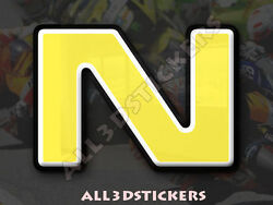 3D Stickers Resin Domed LETTER N - Color Yellow - 50 mm(2 inches) Adhesive Decal $5.30