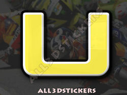 3D Stickers Resin Domed LETTER U - Color Yellow - 50 mm(2 inches) Adhesive Decal $5.30