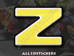 3D Stickers Resin Domed LETTER Z - Color Yellow - 50 mm(2 inches) Adhesive Decal $5.30