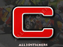 3D Stickers Resin Domed LETTER C - Color Red - 75 mm(3 inches) Adhesive Decal $6.75