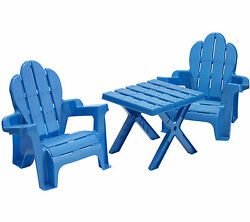 American Plastic Toys 3 Piece Adirondack Table and Chair Set