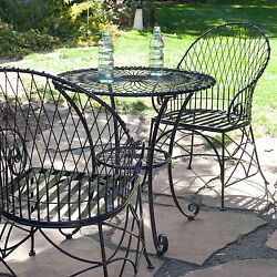 3-Piece New  Black Metal Patio Furniture Bistro Set with Round Table 2 Armchairs