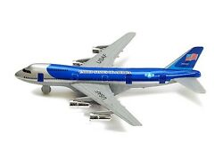 New 8quot; Diecast Toy passenger airplane jet 747 look alike plane blue PULL BACK $9.98