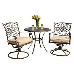 Patio Furniture Bistro Outdoor Swivel 3-piece set Summer Table Chairs Cushioned