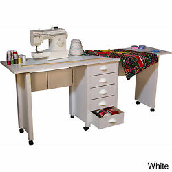 Venture Horizon Double Mobile DeskCraft Center and Sewing Machine Table