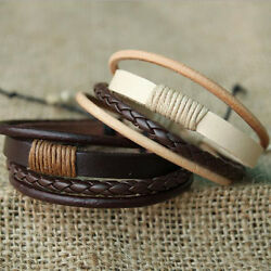 Fashion Retro Multilayer Leather Wristband Bracelet Cuff Bangle Men Women 1pcs