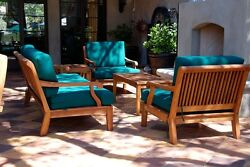 Sack Grade-A Teak Wood 6pc Sofa Lounge Chair Coffee Table Set Outdoor Garden
