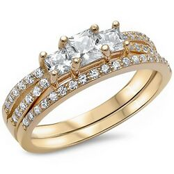 Yellow Gold Plated Princess cut Cz Engagement Set.925 Sterling Silver Sizes 4-12