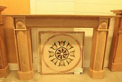 WOOD FIREPLACE SURROUND (MANTEL) (UN-STAINED) FLUTED BARRELED BREAST PILASTER