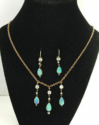 A Stunning Opal & Old Mine Cut Diamond Earring & Necklace Suite Circa 1800's