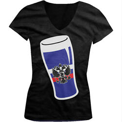 Russian Flag Beer Glass Russia Drinking Party Juniors V neck T shirt $13.50