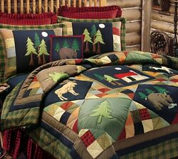 TIMBERLINE 4pc Twin QUILT SET : LODGE MOOSE BEAR DEER PINE CABIN COMFORTER