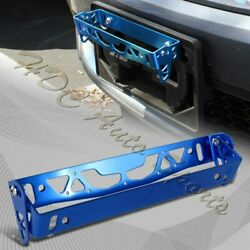 JDM Brush Blue Aluminum Bumper Front Adjustable Tilt License Plate Bracket Kit