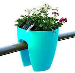 2-PACK Turquoise Railing Rail Deck Garden Balcony Planter Flower Plant Pot Decor
