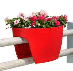 2-PACK Red Railing Rail Deck Garden Balcony Planter Plant Flower Pot Urn Decor