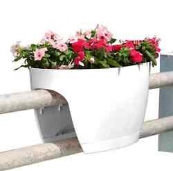 2-PACK White Railing Rail Deck Garden Balcony Planter Plant Flower Pot Urn Decor