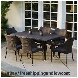 7 Piece Deck Garden Yard Furniture Outdoor Patio Dining Set Table Chairs Wicker