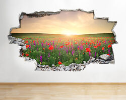 Wall Stickers Flowers Sunrise Scenic Vinyl Smashed Livingroom Mural Decal 3D Art GBP 34.99