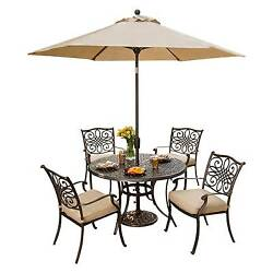 Hanover Outdoor Furniture Traditions 5 Pc. Dining Set of 4 Aluminum Cast Dini...