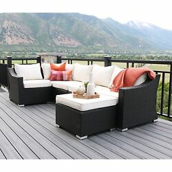 6-Piece Espresso Rattan Patio Sectional with Cushions