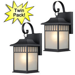 Textured Black Outdoor Patio Porch Exterior Light Fixtures Twin Pack #73476