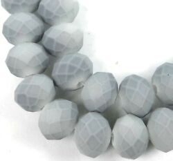 8x5mm Matte Frosted Neon Glass Faceted rondelle Beads - Gray 16