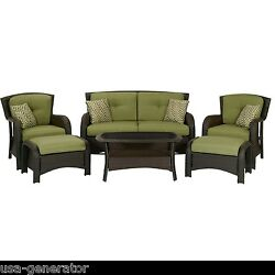Patio Seating Set Wicker 6 Piece Outdoor Furniture Sofa Table Chairs Ottoman NEW