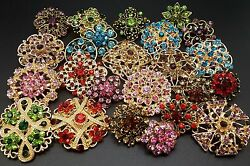 Lot 24 pc Mixed Vintage Style Golden Rhinestone Crystal Brooch Pin DIY Bouquet $12.88