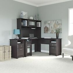 Cabot Collection 60W L Desk Hutch and 2-drawer Pedestal