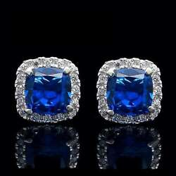 1.00CT Cushion Sapphire Halo Created Diamond Earrings 14K White Gold Studs