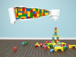 07 01 LEGO BRICKS Style PEELED EFFECT Wall Graphic Decal Home Decor Art Mural $19.00