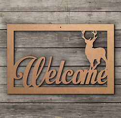 Welcome DEER BUCK Sign Plaques Wooden Laser Cut mdf Craft Blanks Shapes