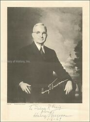 HARRY S TRUMAN - INSCRIBED PHOTOGRAPH SIGNED 01061969