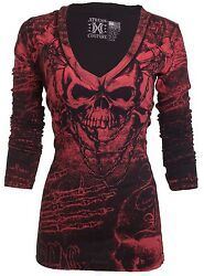 XTREME COUTURE by AFFLICTION Women LS T Shirt KILLER Tattoo Biker Sinful $58 $24.99