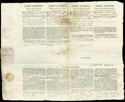 JAMES MADISON - FOUR LANGUAGE SHIPS PAPERS SIGNED 01181812 WITH CO-SIGNERS