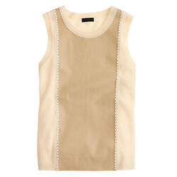 J CREW COLLECTION Cashmere Leather-Front Shell S NWT $348 #A2092 Sweater Top